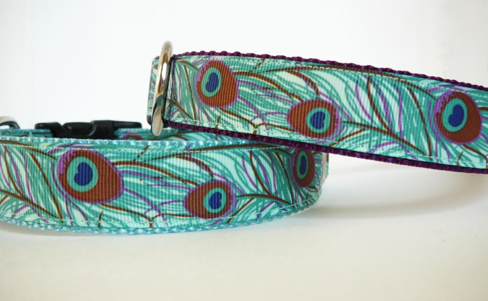 """Dog Collar - """"Peacock"""" in Shades of Aqua, Blue, and Purple (one inch wide)"""