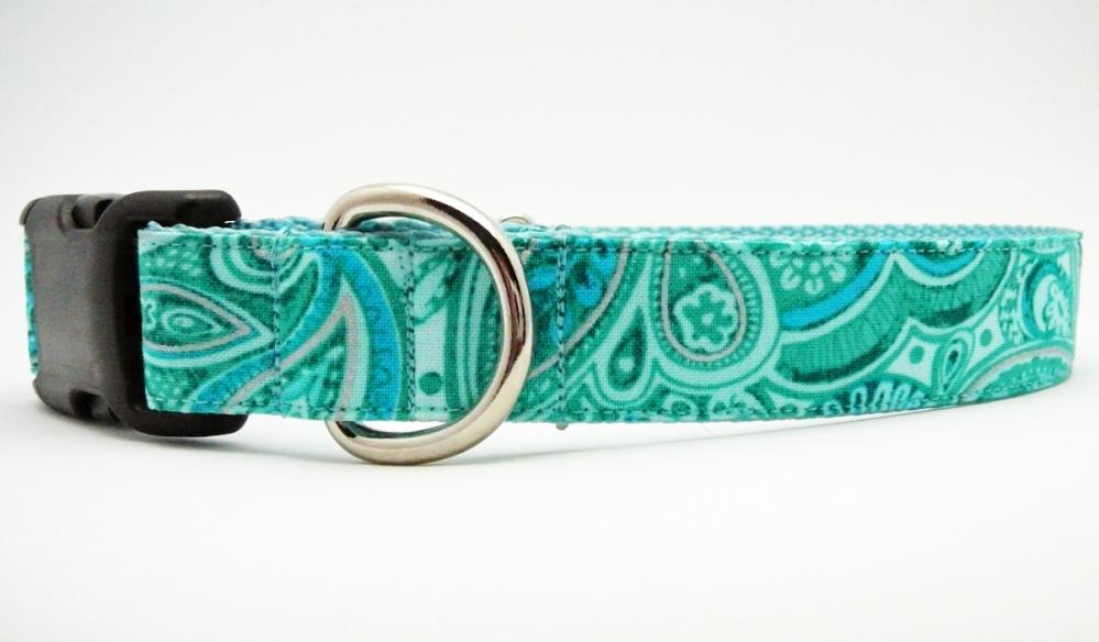 "Dog Collar - ""Splish Splash"" Gorgeous and Girly in Paisley Aqua Turquoise Teal"