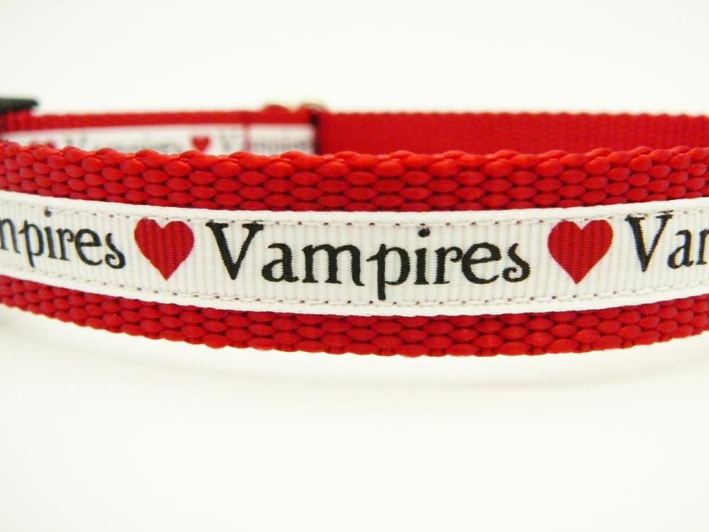 "Dog Collar - ""Vampire Love"" So Cute for Fans of Twilight, True Blood, etc."