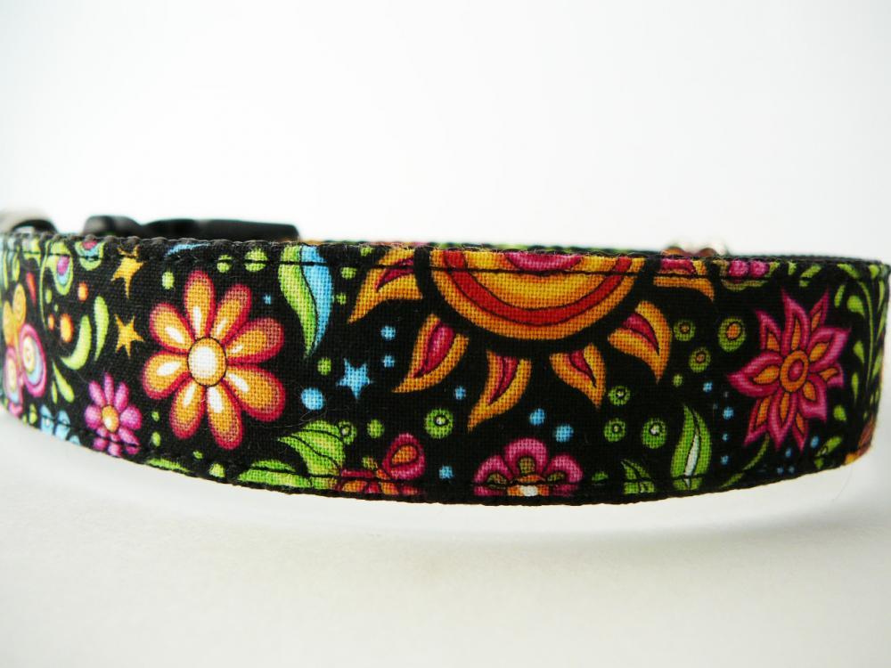 "Dog Collar - ""Cosmic Garden"" Pretty Dog Collar with Sun, Moon, Stars, Flowers, and Butterflies"