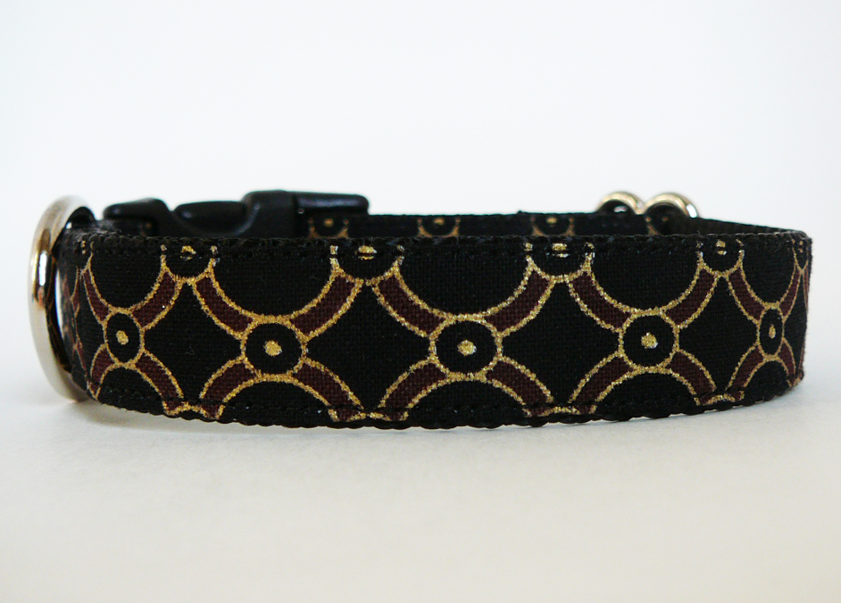 """Dog Collar - """"Pirate's Booty"""" for Your Little Matey with Metallic Gold Accents"""