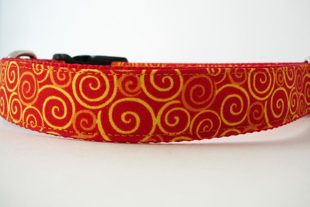 """Dog Collar - """"Sizzle"""" with Bright Colorful Swirls of Orange and Yellow"""