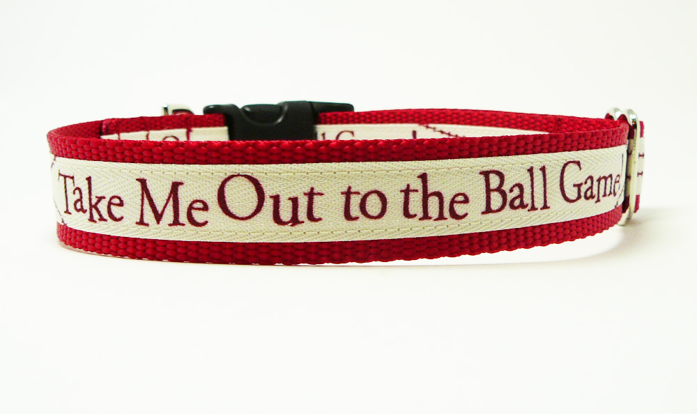 """Dog Collar - """"Take Me Out To The Ball Game"""" Cute Baseball Dog Collar for Any Team"""