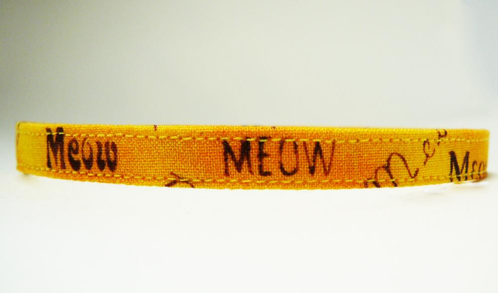 Kitty Talk - Cute Cat or Kitten Breakaway Safety Collar in Yellow Meow Graffiti