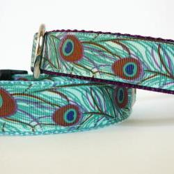 "Dog Collar - ""Peacock""  in Shades of Aqua, Blue, and Purple (one inch wide)"