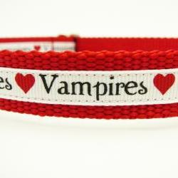 "Dog Collar - ""Vampire Love""  So Cute for Fans of Twilight, True Blood, etc."