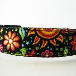 "Dog Collar - ""Cosmic Garden"" Pretty Dog Collar with Sun, Moon, Stars, Flowers, and Butterflies"