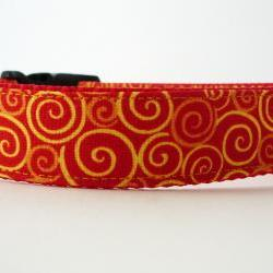 "Dog Collar - ""Sizzle"" with Bright Colorful Swirls of Orange and Yellow"