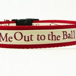 "Dog Collar - ""Take Me Out To The Ball Game"" Cute Baseball Dog Collar for Any Team"